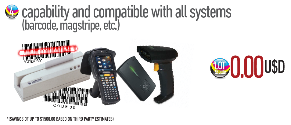Capability and compatible with all systems (barcode, magstripe, etc