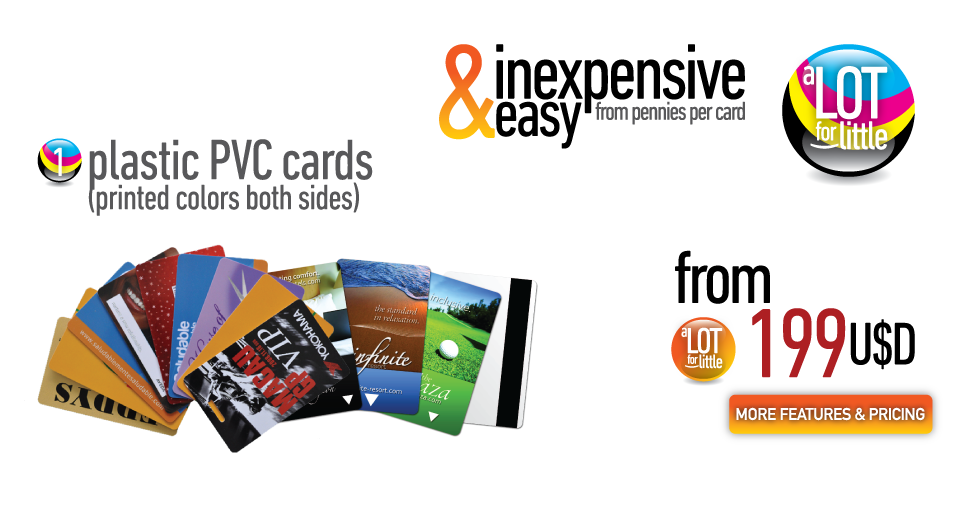 Plastic PVC cards (printed colors both sides - from U$S199